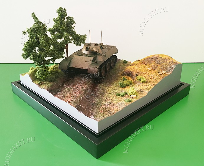 Tank in the natural landscape on the model