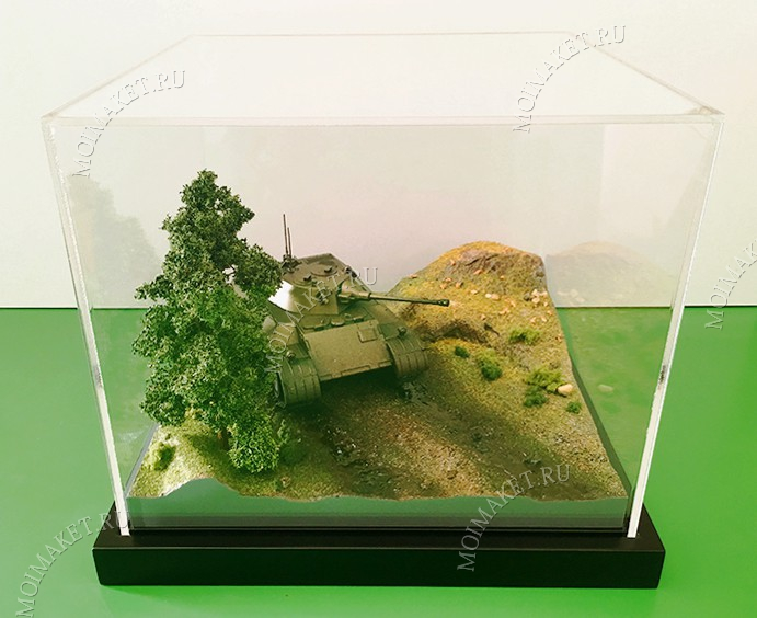 Model of tank on the relief terrain in the protective cap