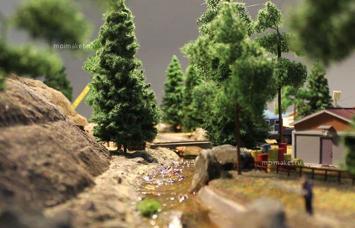 mountain brook amid the trees on the model