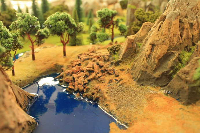Mountain terrain on the model