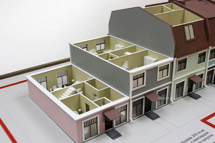 Model of townhouse for 4 families