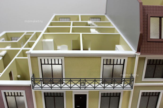 Model of townhouse with balcony
