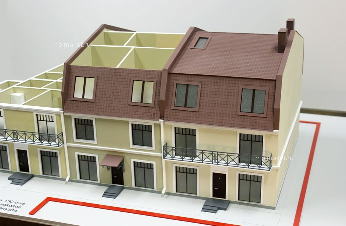 Model of large townhouse with French windows