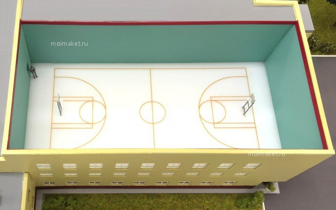 Sports hall cross-sectional view on the model
