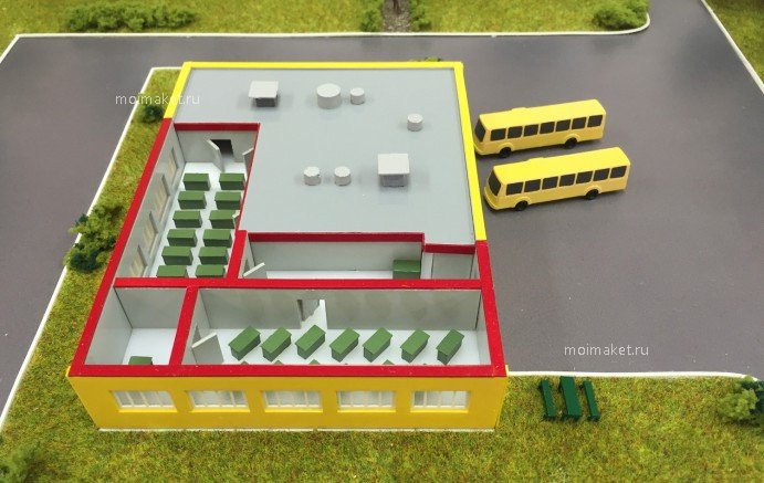 Shop building cross-sectional view on the model