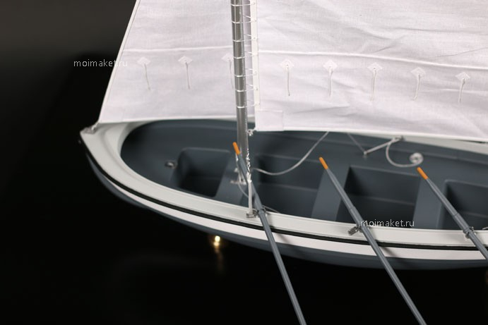 Parts of boat model in enlarged view