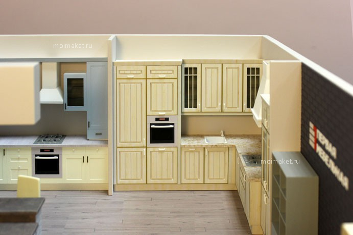 Angle kitchen model with cupboard for built-in refrigerator