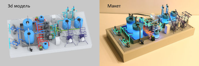 Model of electrolysis plant with lighting