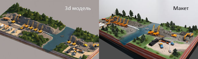 Model with moving trains and cars for Gazprom