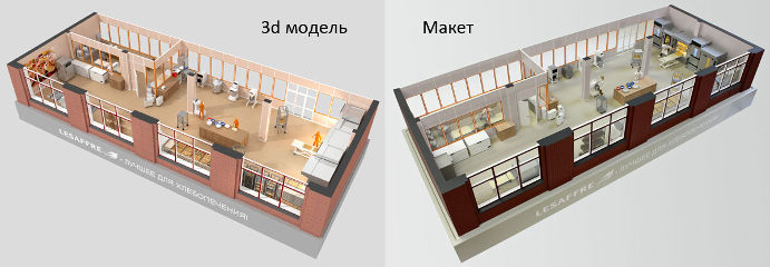 Model of the bakery center with lighting
