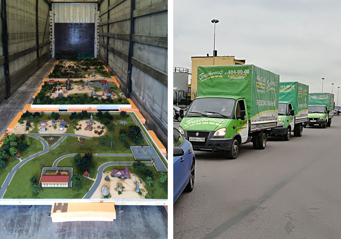 "Delivery of Ethno park model in the truck, 20 ft. Delivery of LNG model for Gazprom on 3 ""Gazel"" vehicles"