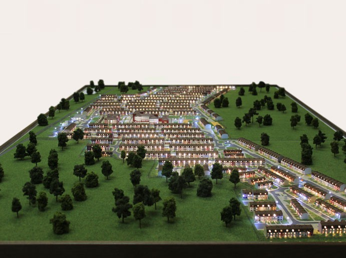 Model of townhouses - photo